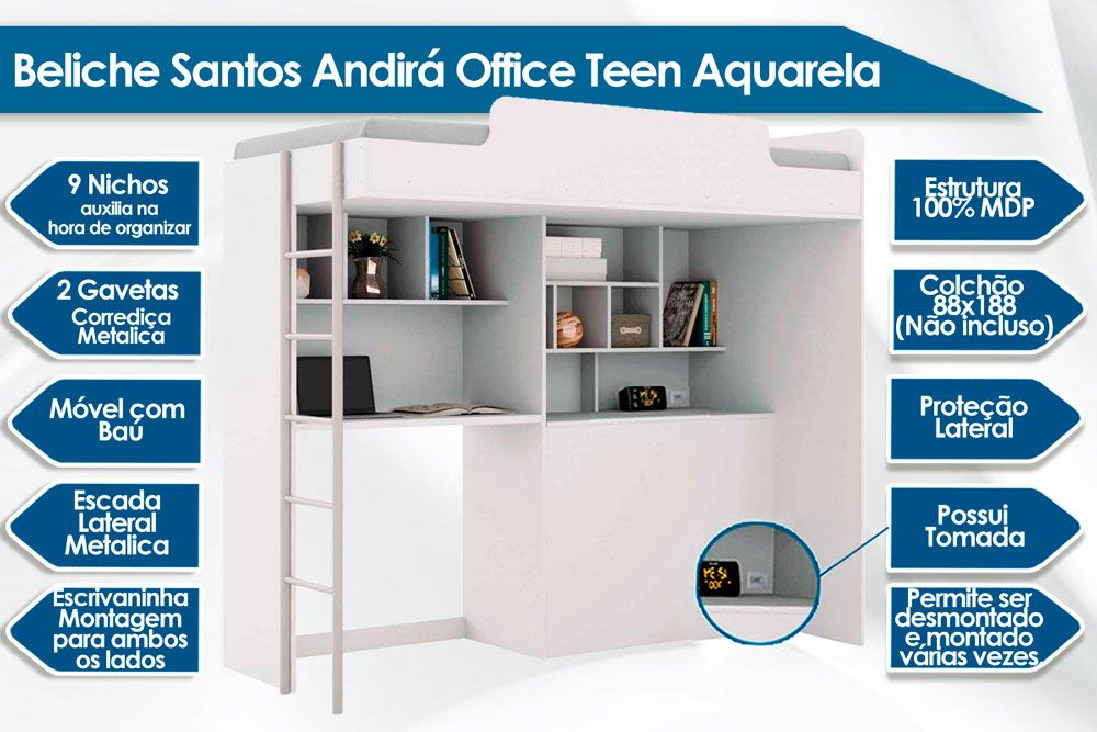 Beliche Santos Andirá Office Teen Aquerela