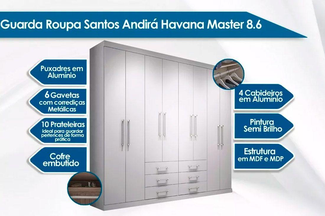 Guarda Roupa Santos Andirá Havana Master 8.6