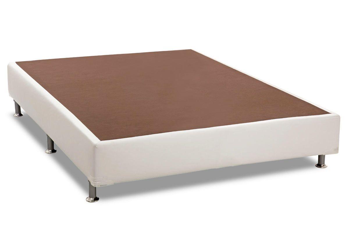 Cama Box Base Universal Ortobom Courino Bianco 0,20Cama Box Casal - 1,38x1,88x0,20 - Sem Colchão