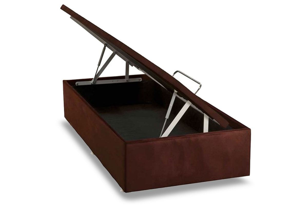 Cama Box Baú Ortobom Nobuck Rosolare Café- Box Baú Physical Solteiro - 0,88x1,88 - Inteiriça