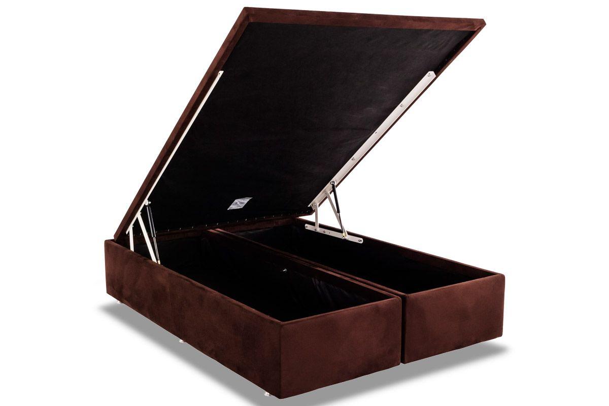 Cama Box Baú Ortobom Nobuck Rosolare Café-  Box Baú Queen Size - 1,58x1,98x0,35 - Bipartida