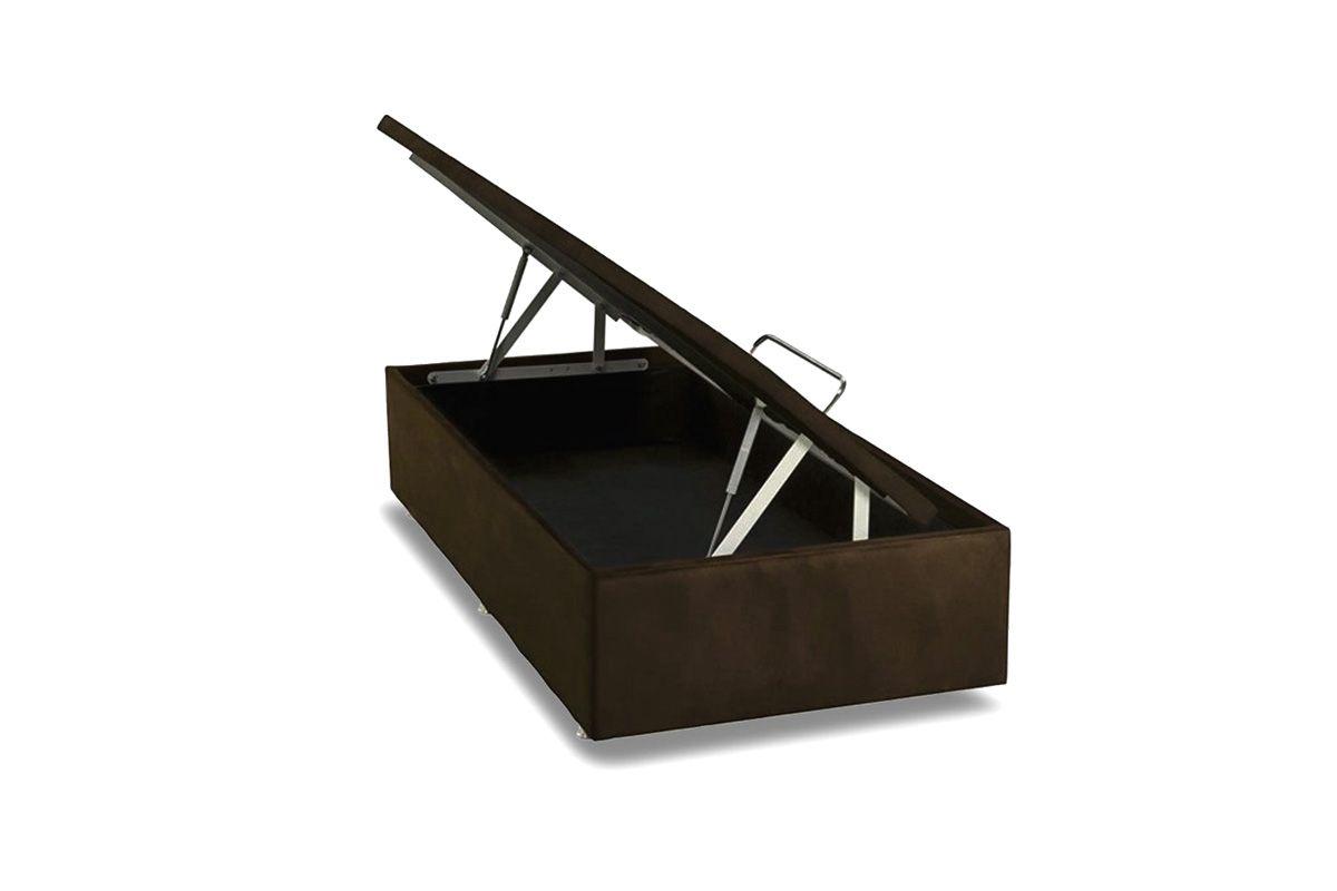 Cama Box Baú Ortobom Nobuck Rosolare Café- Box Baú Physical Solteiro - 0,88x1,88 - Inteiriça