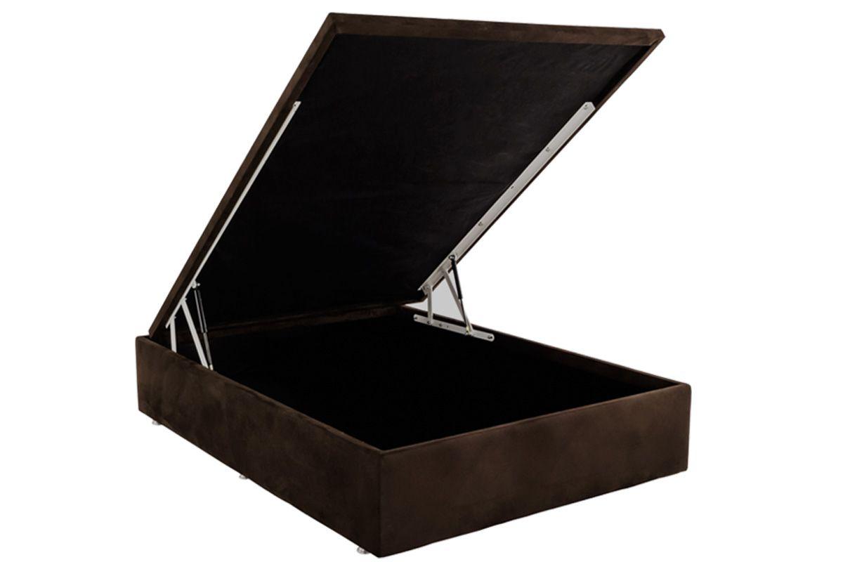 Cama Box Baú Ortobom Nobuck Rosolare Café-  Box Baú Physical Casal - 1,38x1,88  - Inteiriça