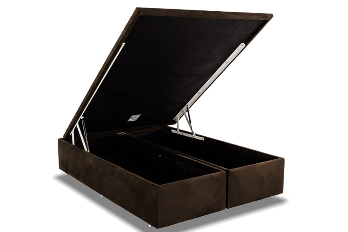 Cama Box Baú Ortobom Nobuck Rosolare Café-  Box Baú King Size - 1,86x1,98x0,35 - Bipartida