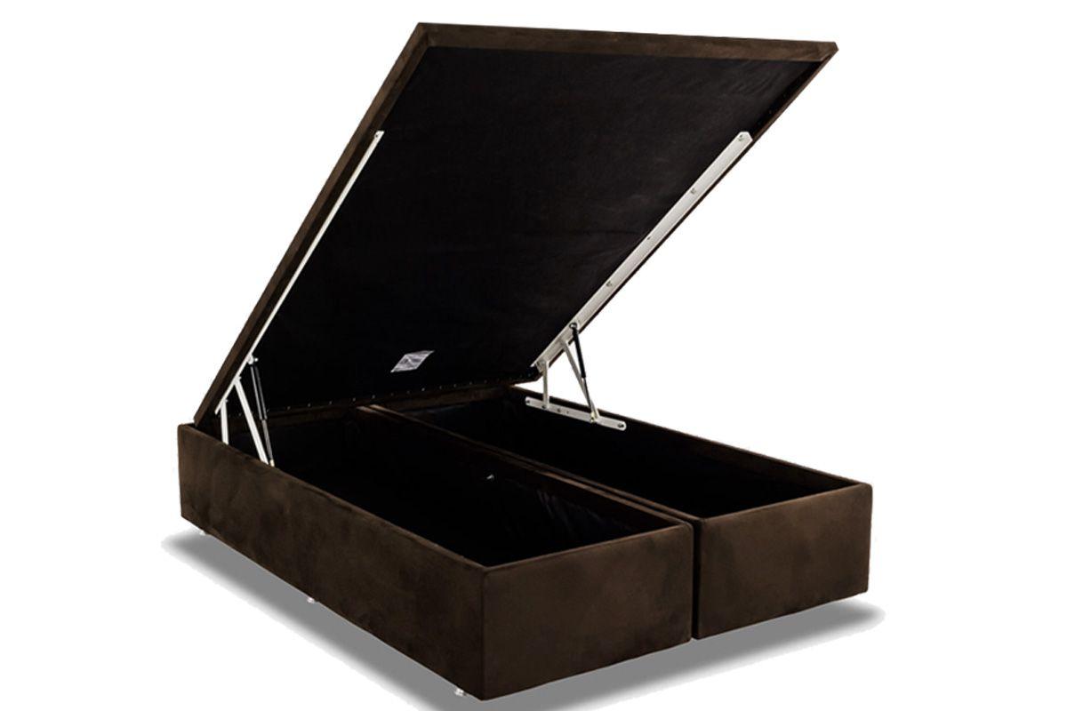 Cama Box Baú Ortobom Nobuck Rosolare Café-  Box Baú King Size - 1,93x2,03x0,35 - Bipartida