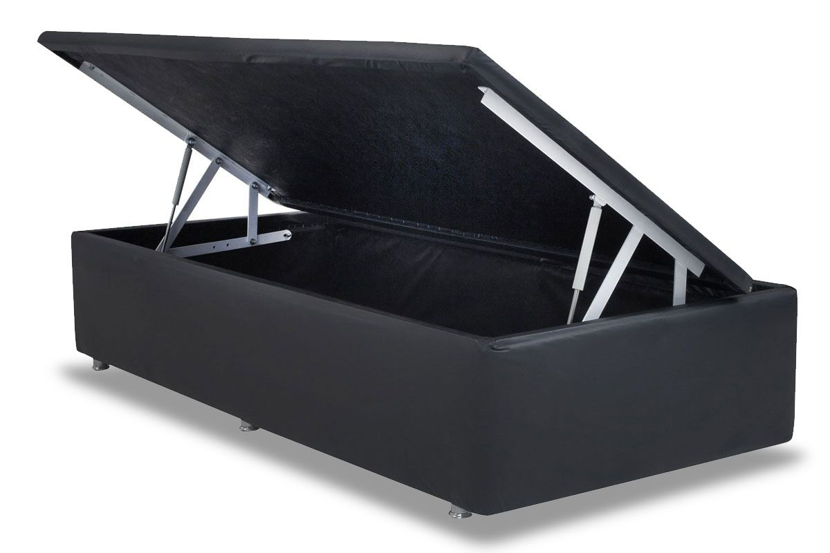 Cama Box Baú Ortobom Couríno Nero Black- Box Baú Physical Solteiro - 0,88x1,88 - Inteiriça
