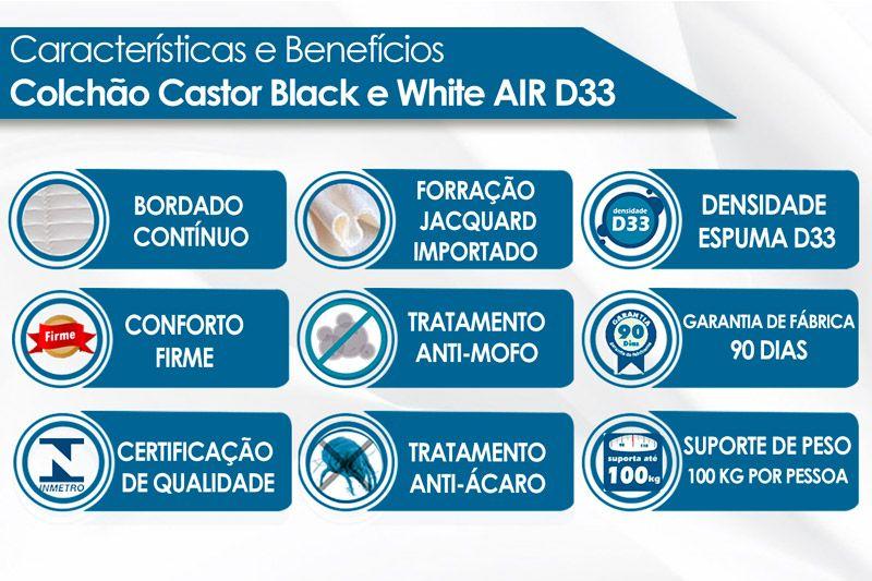 Colchão Castor Espuma D33 Black e White AIR O.F