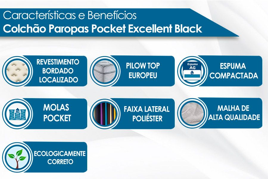 Colchão Paropas Molas Pocket Excellent Black