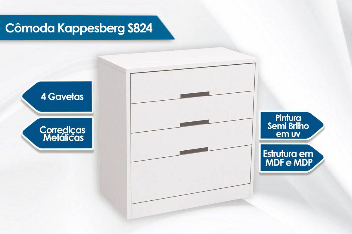 Cômoda Kappesberg S824 c/ 4 Gavetas
