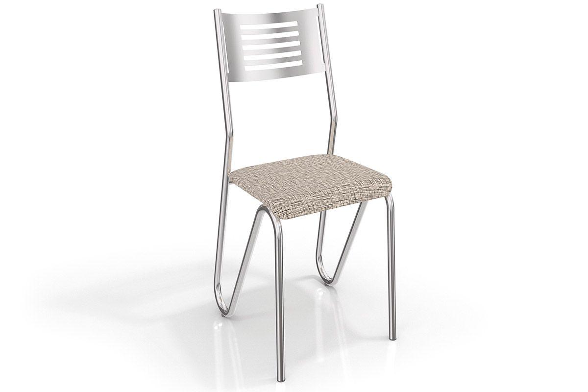 Cadeira Kappesberg Nápoles Cromada 2C045CRCor Cromado  -  Assento Linho Marrom 22
