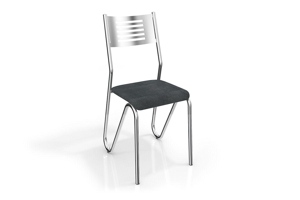 Cadeira Kappesberg Nápoles Cromada 2C045CRCor Cromada  -  Assento Preto Linho Cinza 17