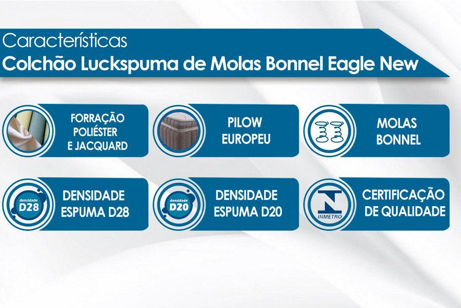 Colchão Luckspuma Molas Bonnel Eagle New Euro Pillow