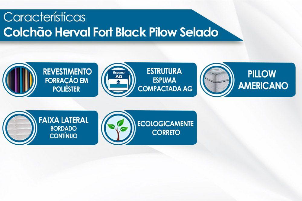 Colchão Herval Espuma Ortopédica Fort Black