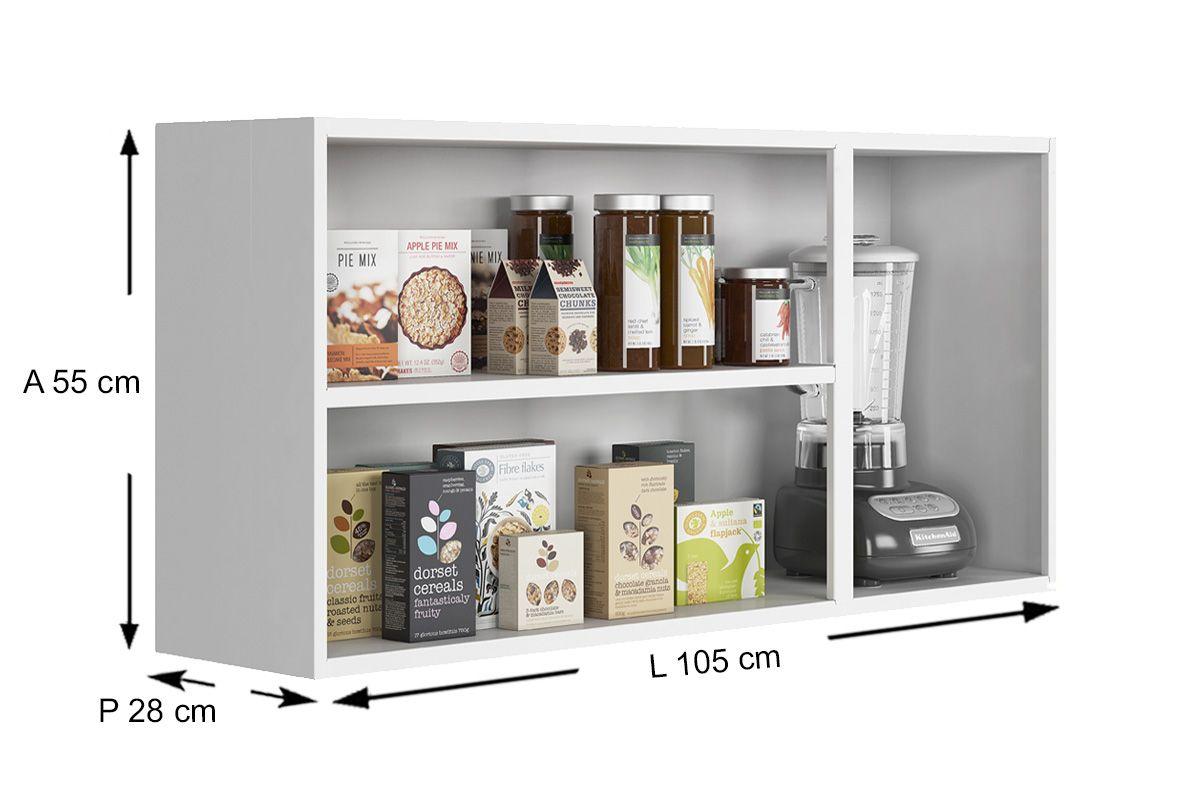 Armário Cozinha Itatiaia Criativa Aço 3 Portas C/1 de Vidro 105cm
