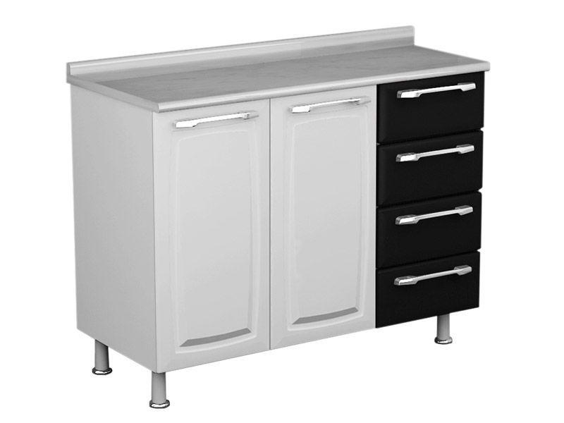 Gabinete Cozinha Itatiaia Criativa Aço 2 Portas e  4 gavetas 105cm