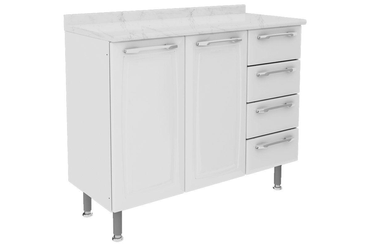 Gabinete de Cozinha Itatiaia Criativa Aço 2 Portas e  4 gavetas 105cmCor Branco