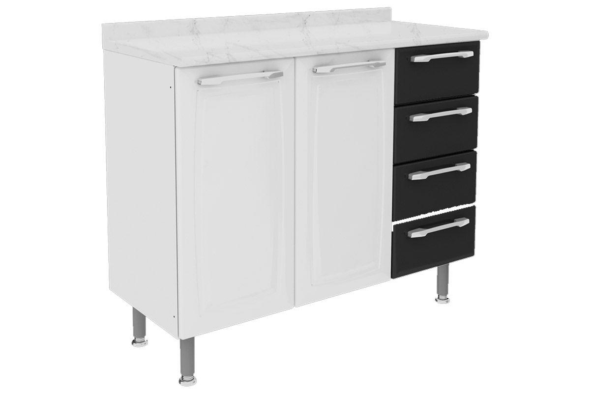 Gabinete de Cozinha Itatiaia Criativa Aço 2 Portas e  4 gavetas 105cmCor Branco c/ Preto