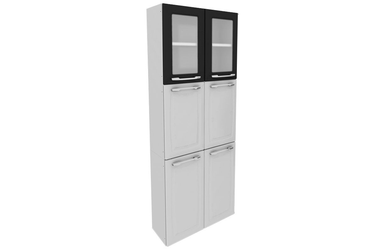 Paneleiro Cozinha Itatiaia Criativa Aço C/ Vidro 6 Portas 70cmCor Branco c/ Preto