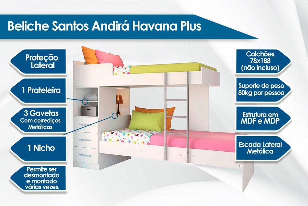 Beliche Santos Andirá Havana Plus 3 gavetas