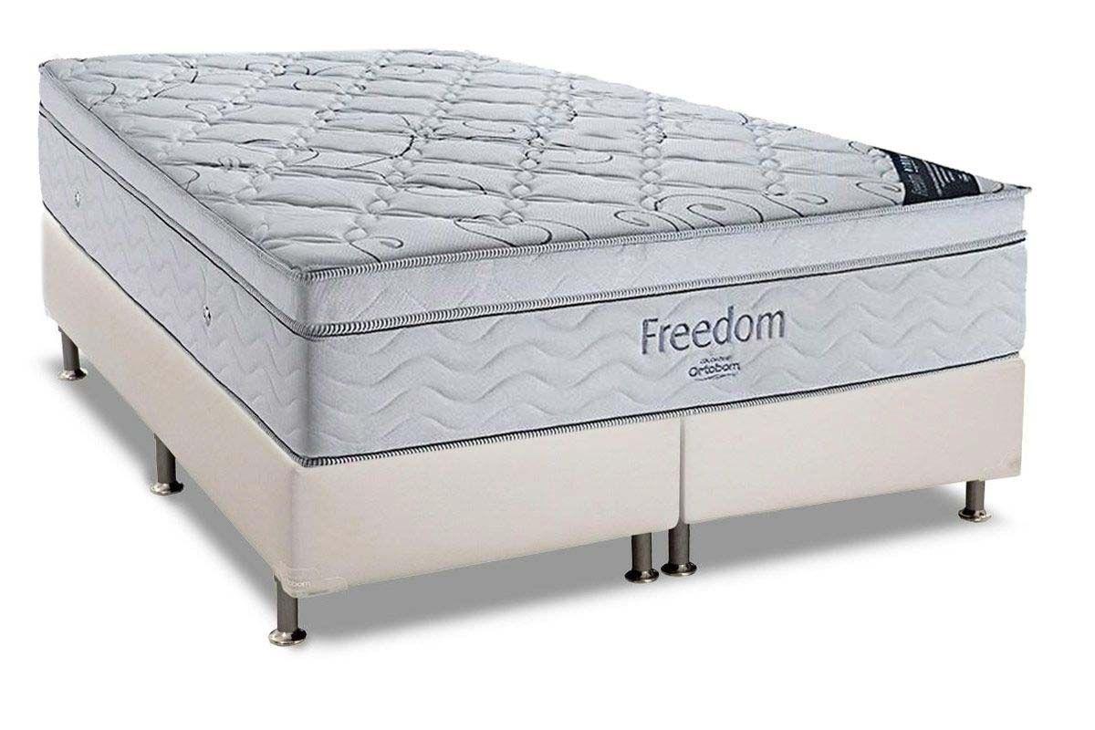 Conjunto Box: Colchão Ortobom Pocket Freedom + Cama Couríno White