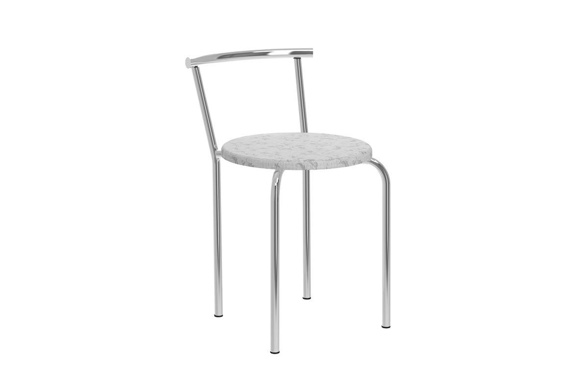 Caixa c/ 2 Banquetas Carraro 105Cor Cromada  -  Assento Fantasia Branco