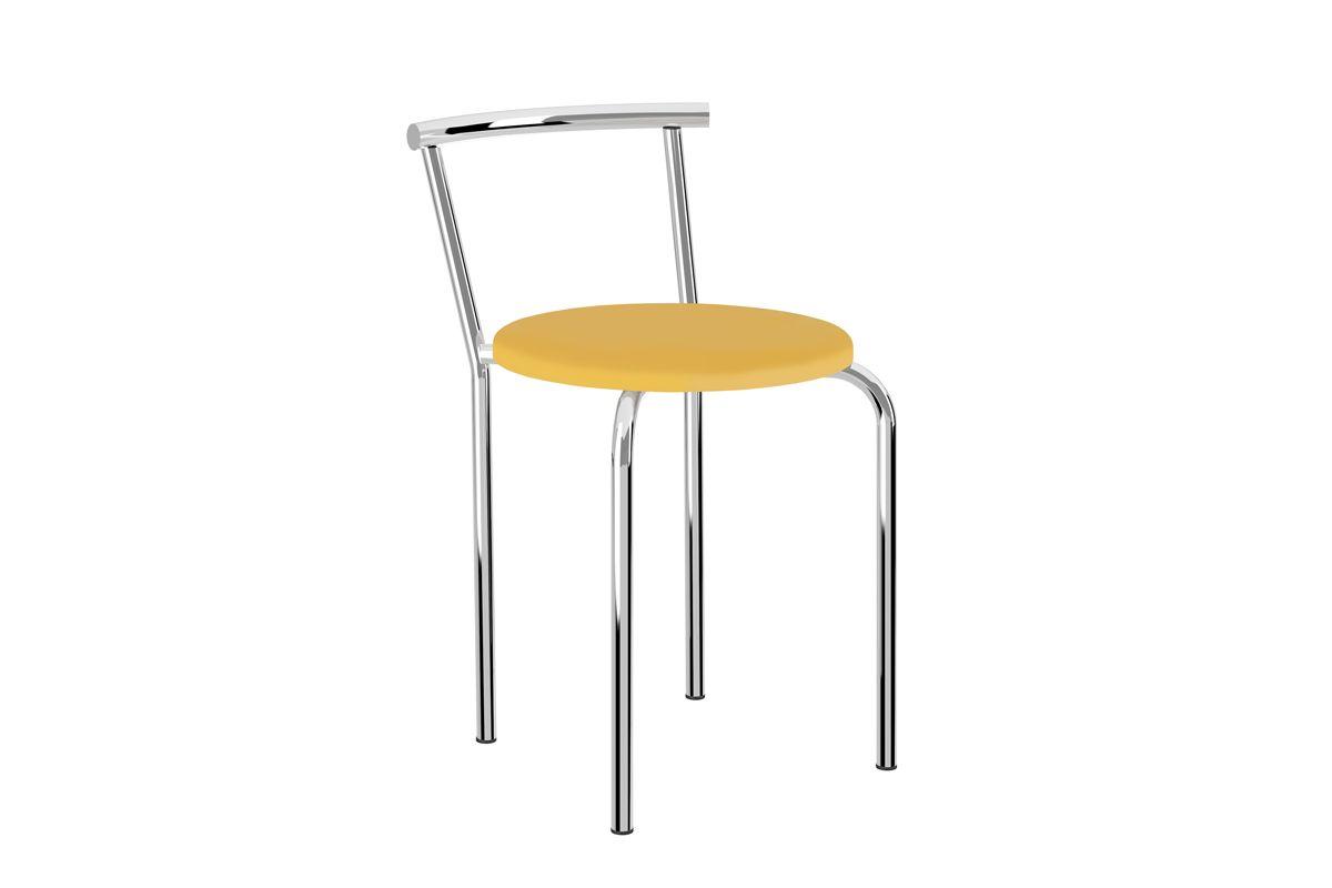 Caixa c/ 2 Banquetas Carraro 105Cor Cromada - Assento Couríno Amarelo