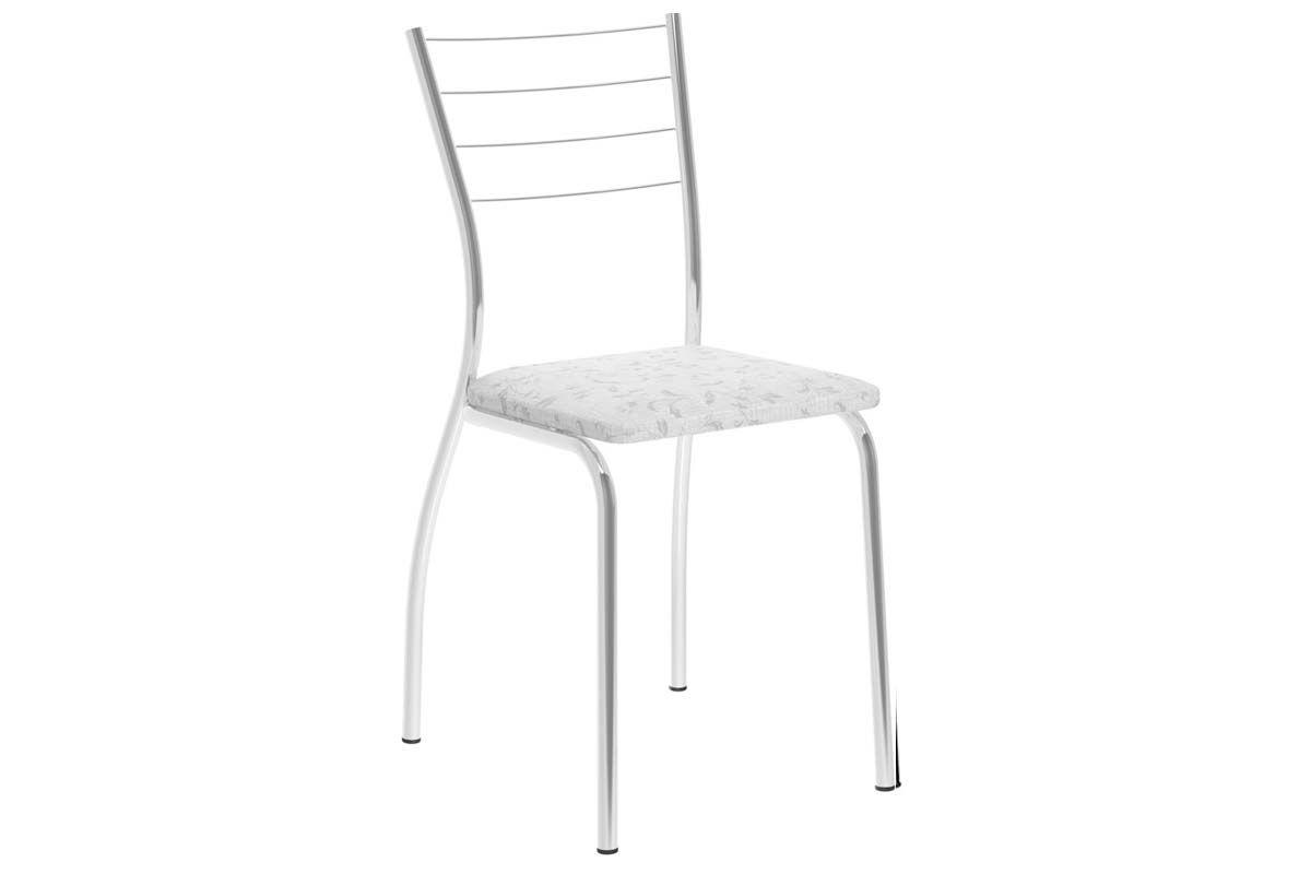 Caixa c/ 2 Cadeiras Carraro 1700Cor Cromada - Assento/Encosto Fantasia Branco