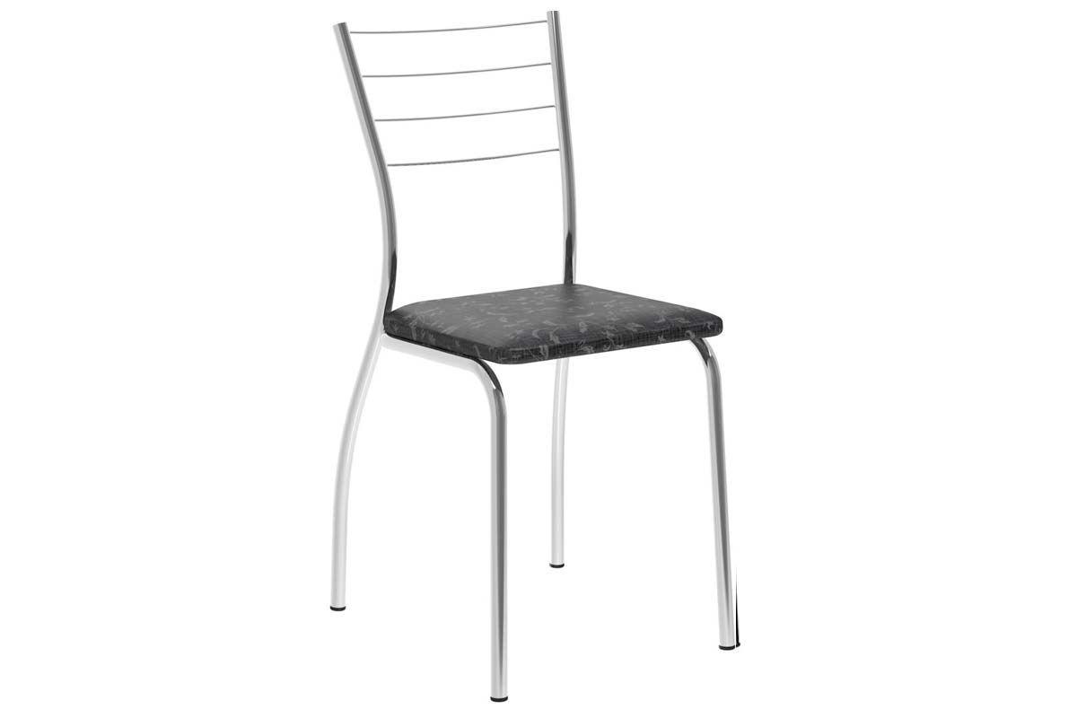 Caixa c/ 2 Cadeiras Carraro 1700Cor Cromada - Assento/Encosto Fantasia Preto