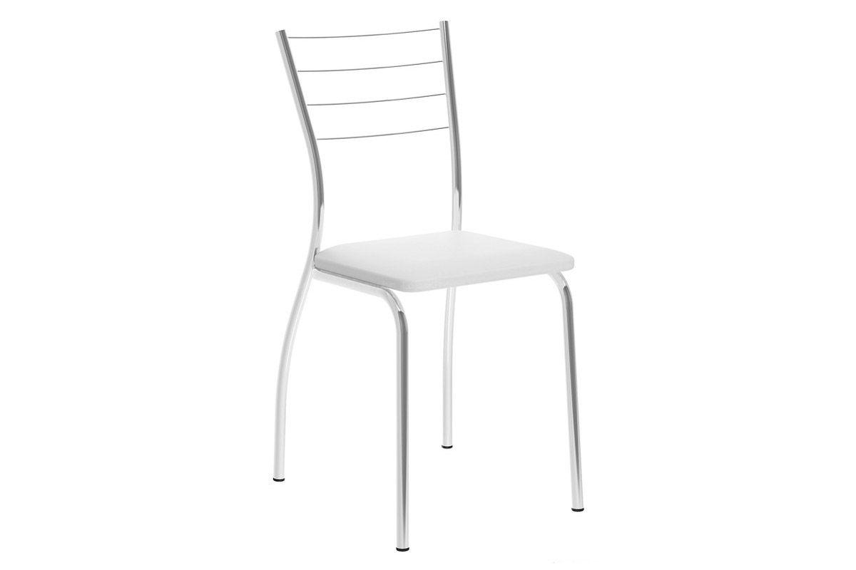 Caixa c/ 2 Cadeiras Carraro 1700Cor Cromada  -  Assento Couríno Branco