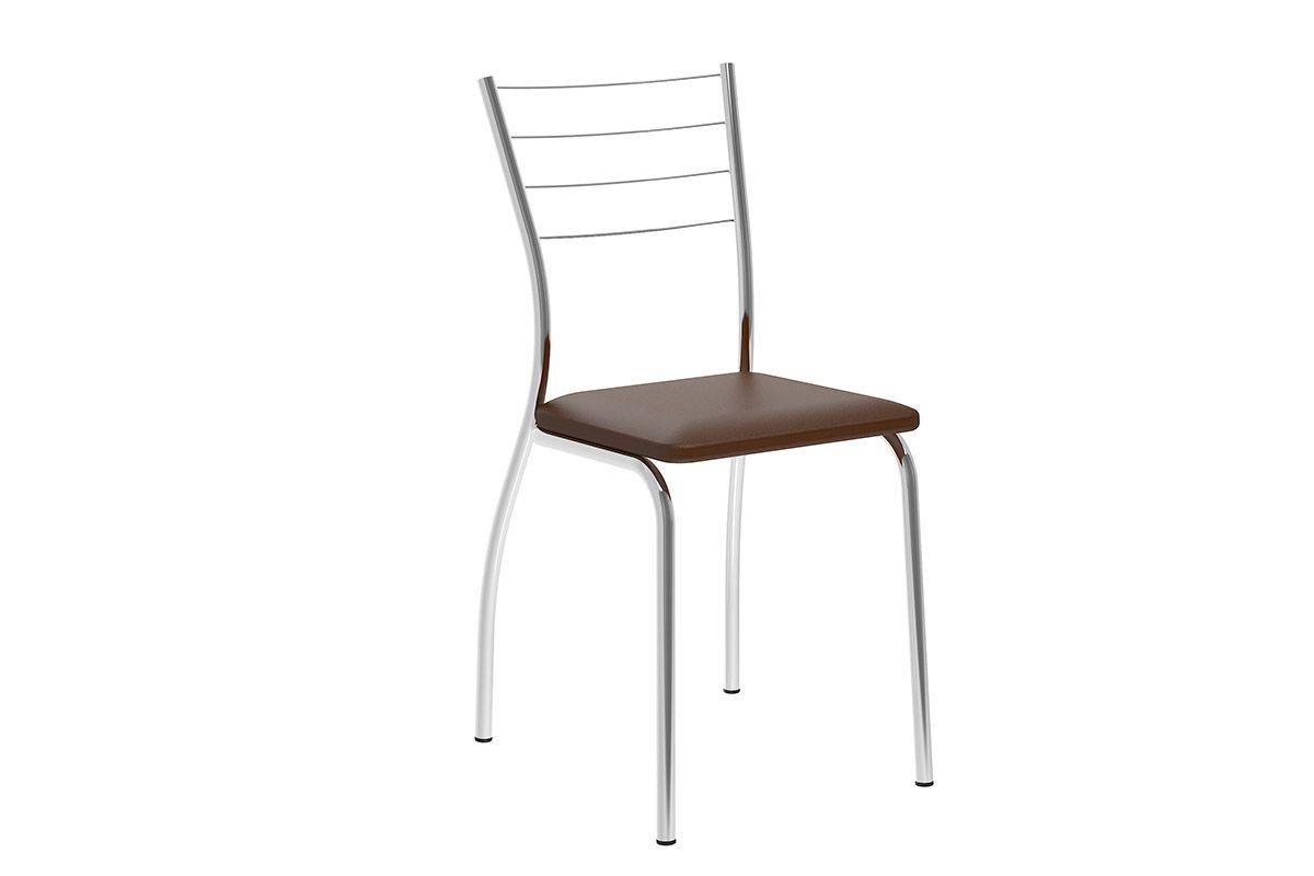 Caixa c/ 2 Cadeiras Carraro 1700Cor Cromada  -  Assento/Encosto Couríno Cacau