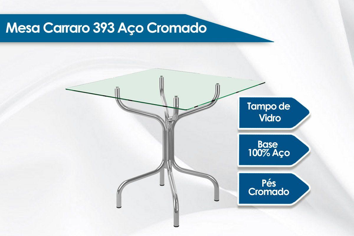 Mesa Carraro 393 Aço Cromado c/ Tampo de Vidro 80x80x0,06cm