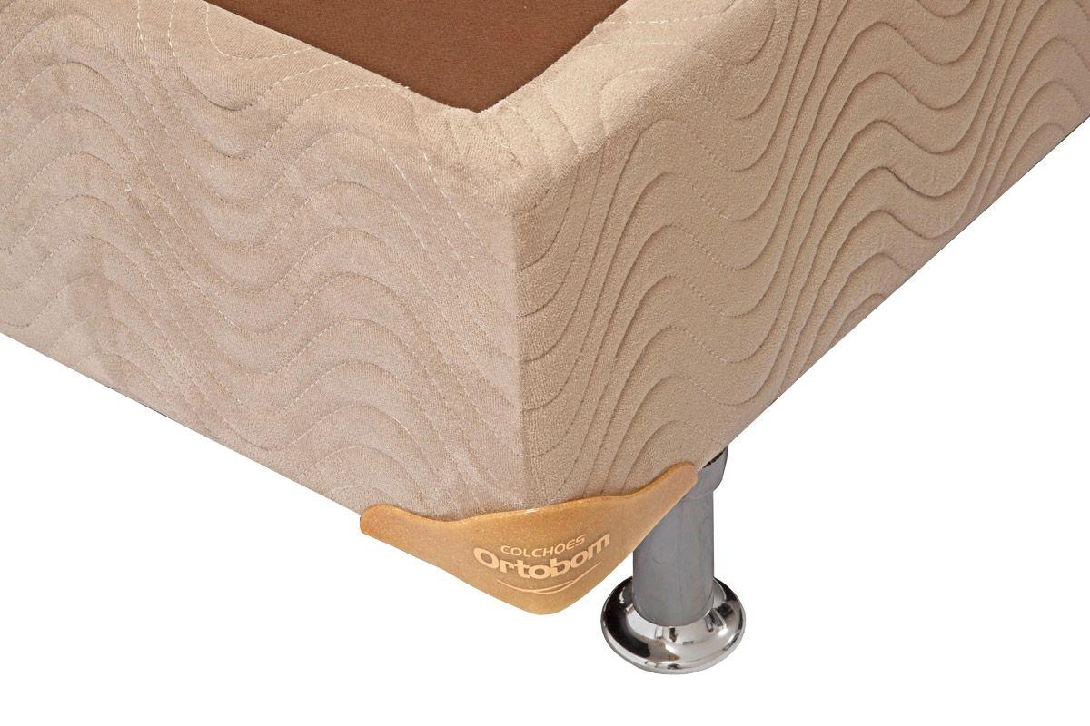 Cama Box Base Ortobom Camurça Crema (Viscomemory)