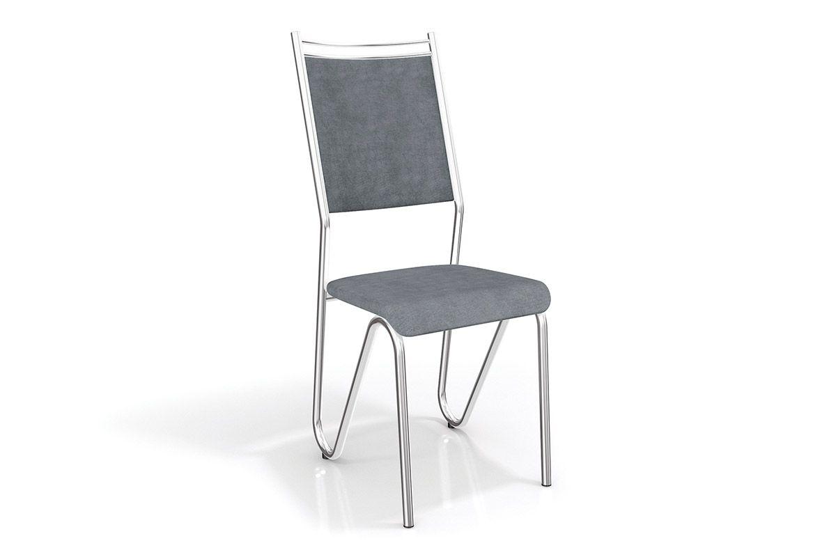 Cadeiras Kappesberg Londres Cromada 2C056CRCor Cromada  -  Assento Preto Linho Cinza 17