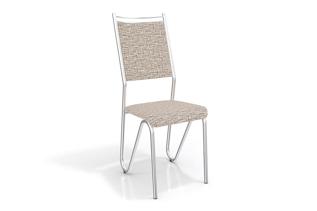 Cadeiras Kappesberg Londres Cromada 2C056CRCor Cromado  -  Assento Linho Marrom 22