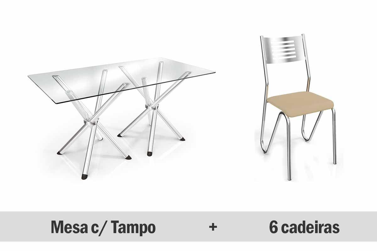 Mesa de Jantar Kappesberg Aldan Cromada + 4 Cadeiras