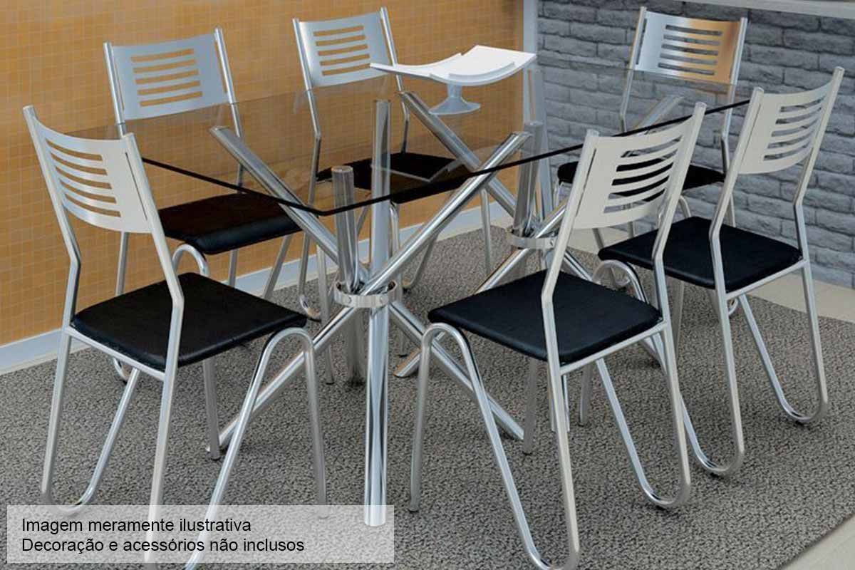 Conjunto de Mesa Kappesberg Elba + 6 Cadeiras Cromada