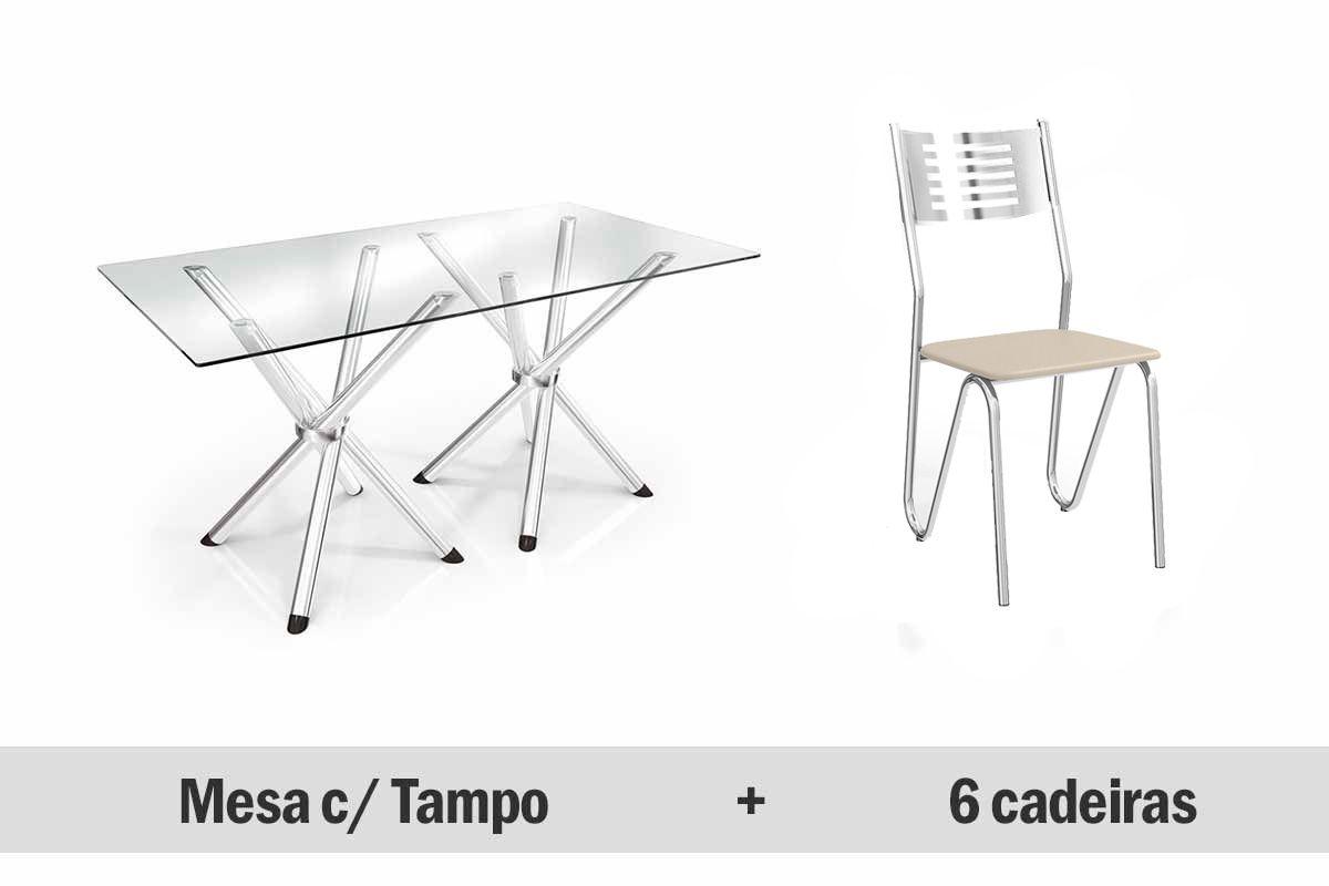 Conjunto de Mesa Kappesberg Reno+ 6 Cadeiras Cromada