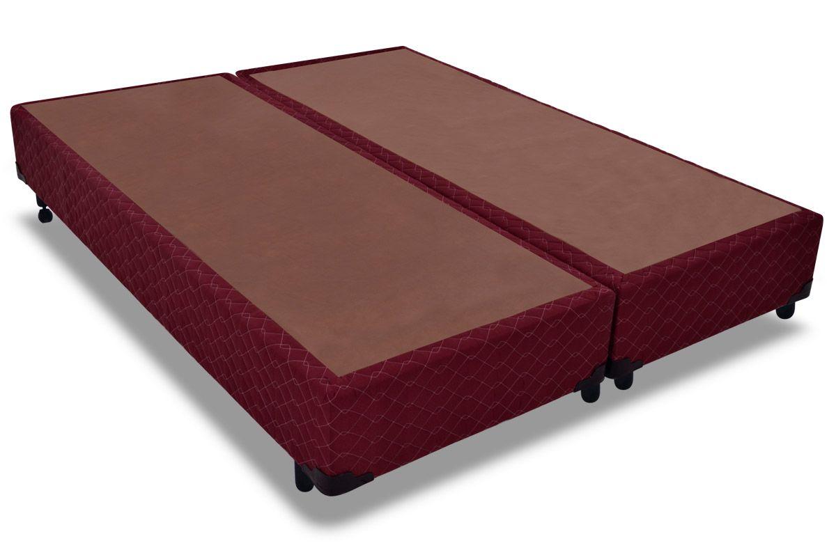 Cama Box Base Probel Tela VinhoCama Box Queen Size - 1,58x1,98x0,25 - Sem Colchão