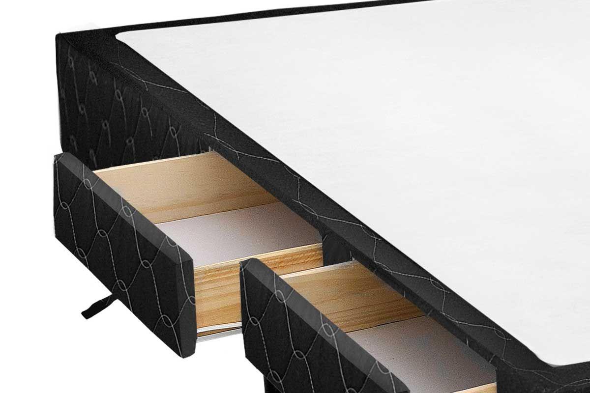 Cama Box Base Castor c/ Gavetas Tecido Black