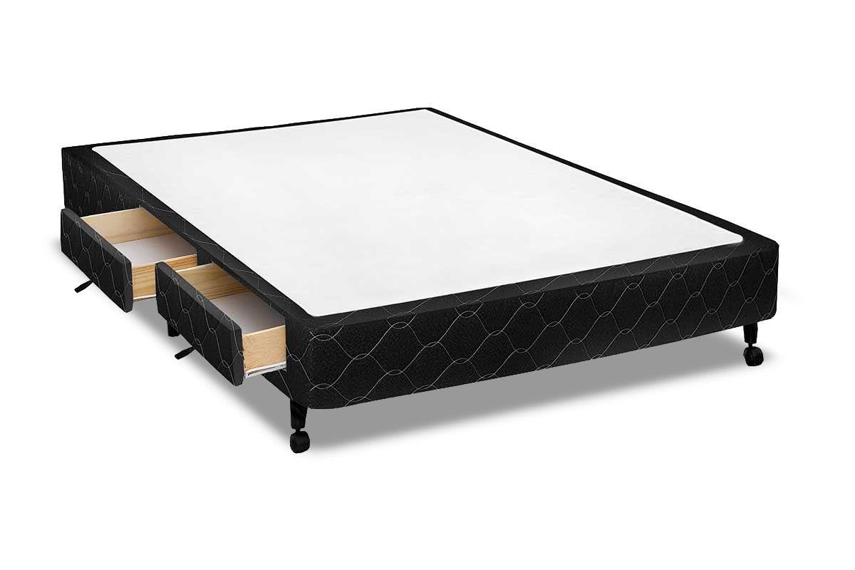 Cama Box Base Castor c/ Gavetas Tecido BlackCama Box Preta 4 Gav.Queen Size  - 1,58x1,98x0,23 - Sem Colchão