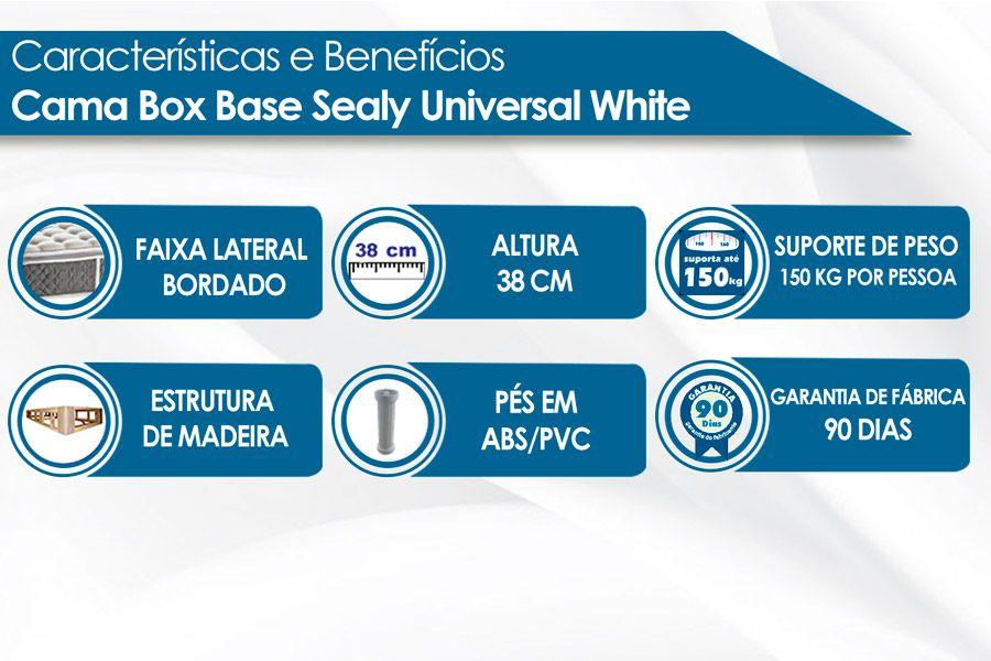 Cama Box Base Sealy Universal White