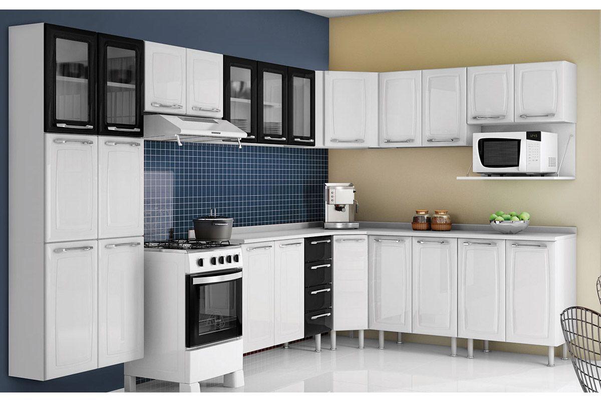 Cozinha Compacta Itatiaia Criativa (COZ MXII 5V) Cor Branco c/ Preto #678249 1200 800
