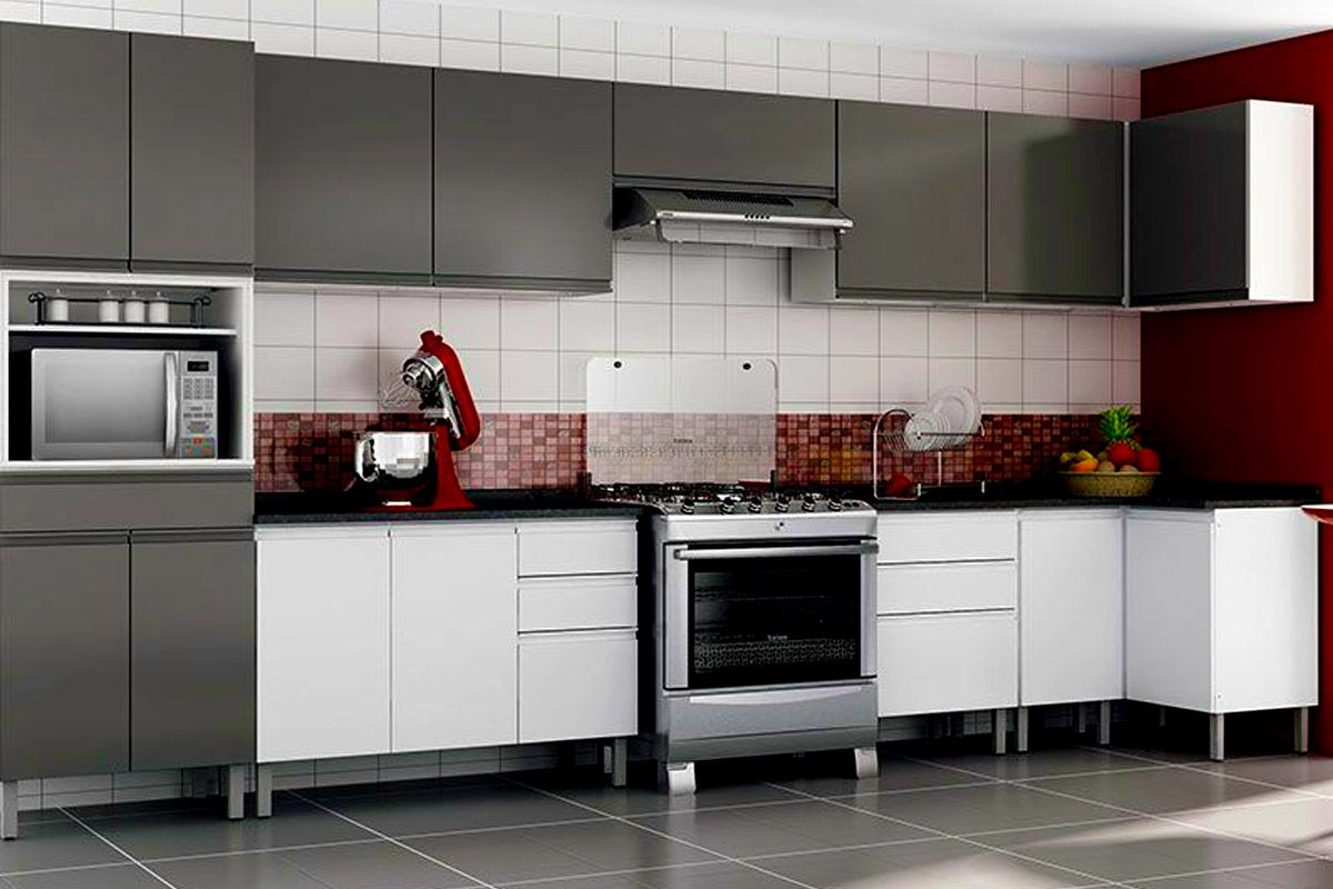 Cozinhas de Aço Completas com Armário de Cozinha Itatiaia Stilo Plus  #5F3C37 1200 800