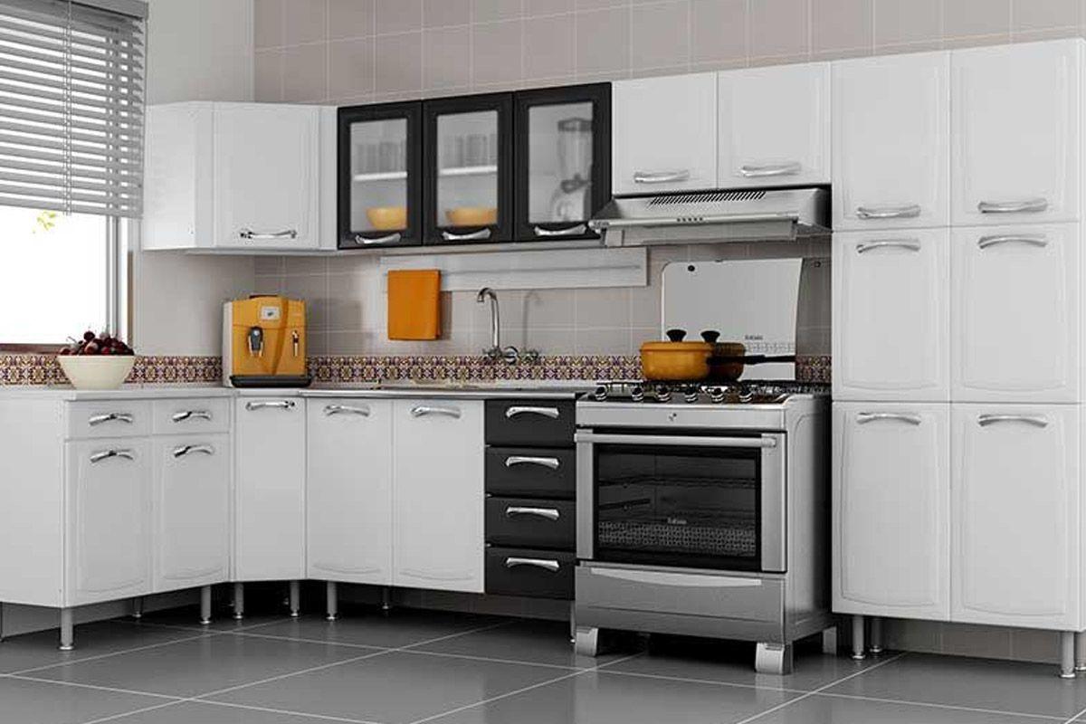 Armário de Cozinha Itatiaia Premium Aço 3 Portas c/ vidro