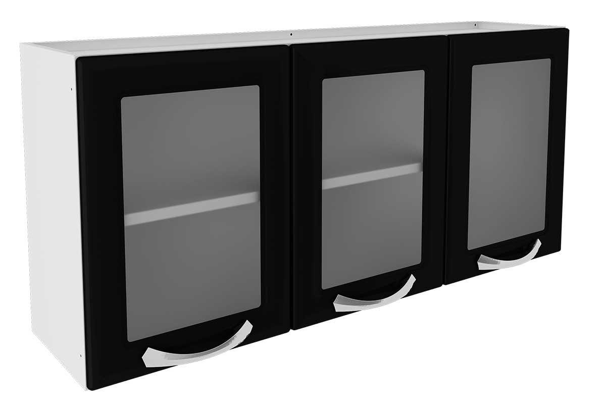 Armário de Cozinha Itatiaia Premium Aço 3 Portas c/ vidroCor Branco c/ Preto