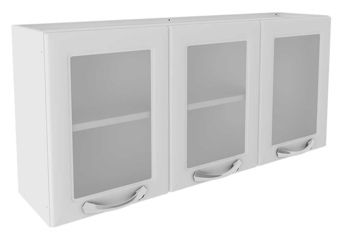 Armário de Cozinha Itatiaia Premium Aço 3 Portas c/ vidroCor Branco
