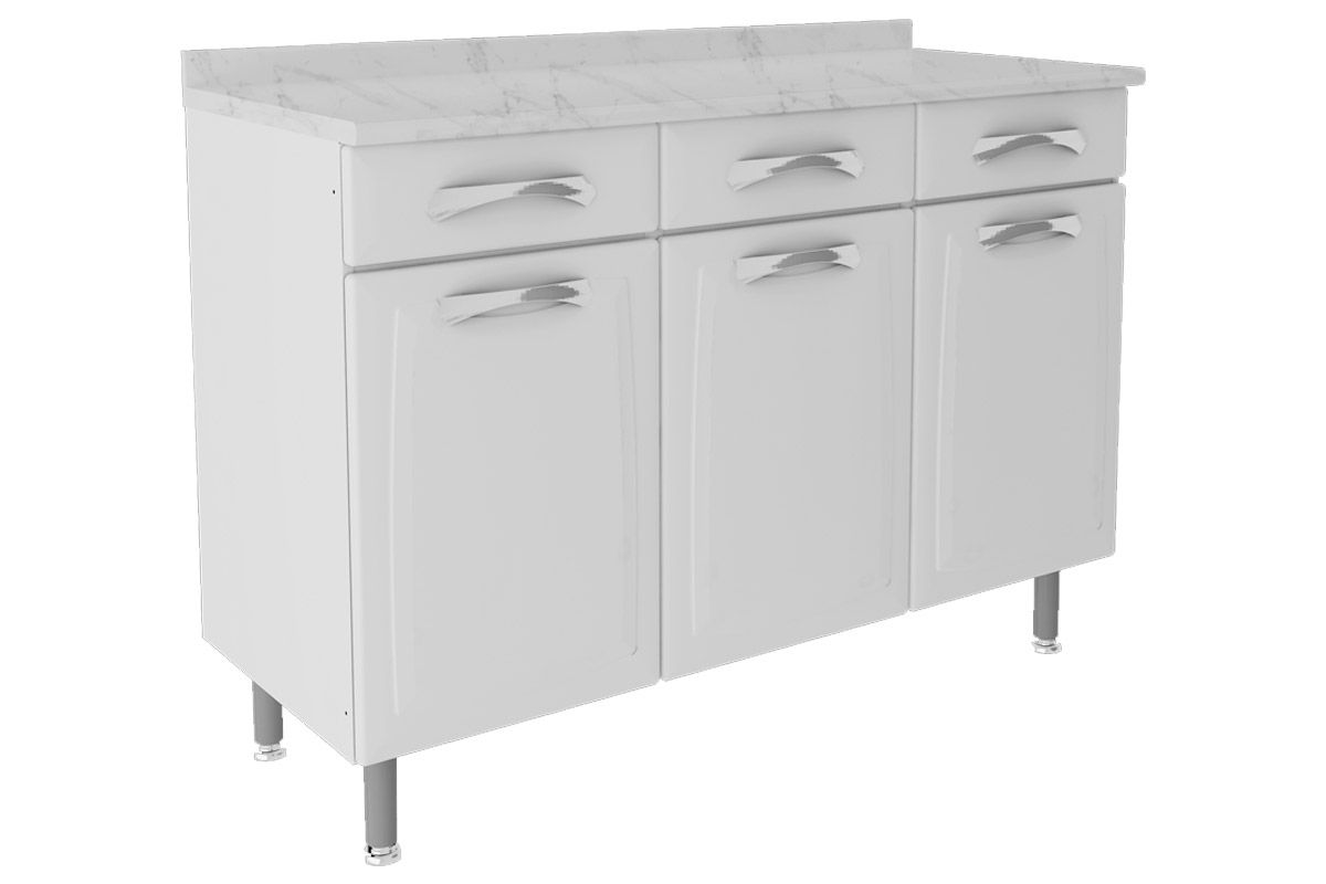 Gabinete de Cozinha Itatiaia Premium IG3GD-120 C/TampoCor Branco
