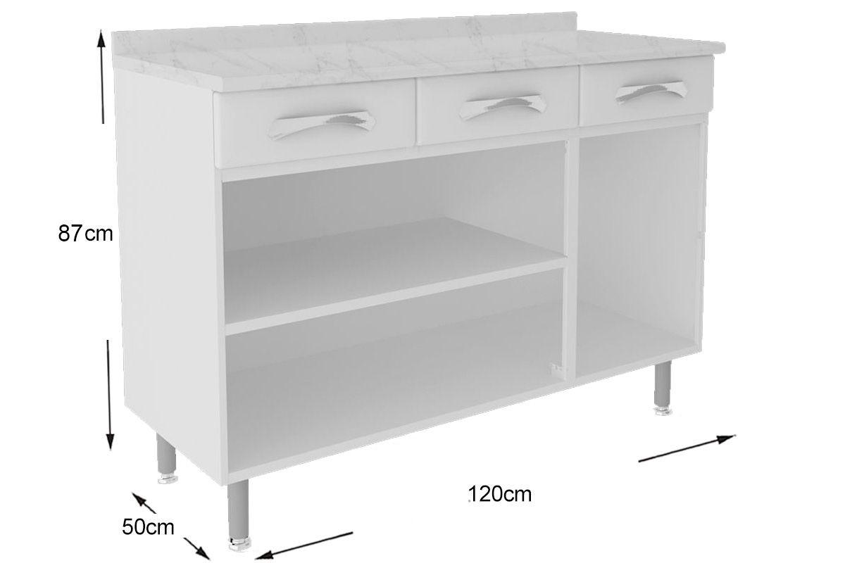 Gabinete de Cozinha Itatiaia Premium IG3GD-120 C/Tampo