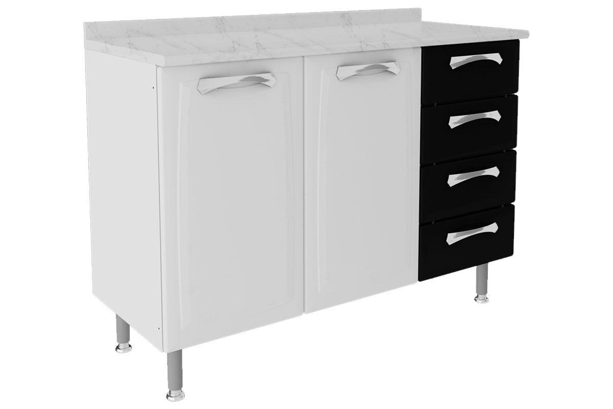 Gabinete de Cozinha Itatiaia Permium IG3G4GD-120 c/ TampoCor Branco c/ Preto