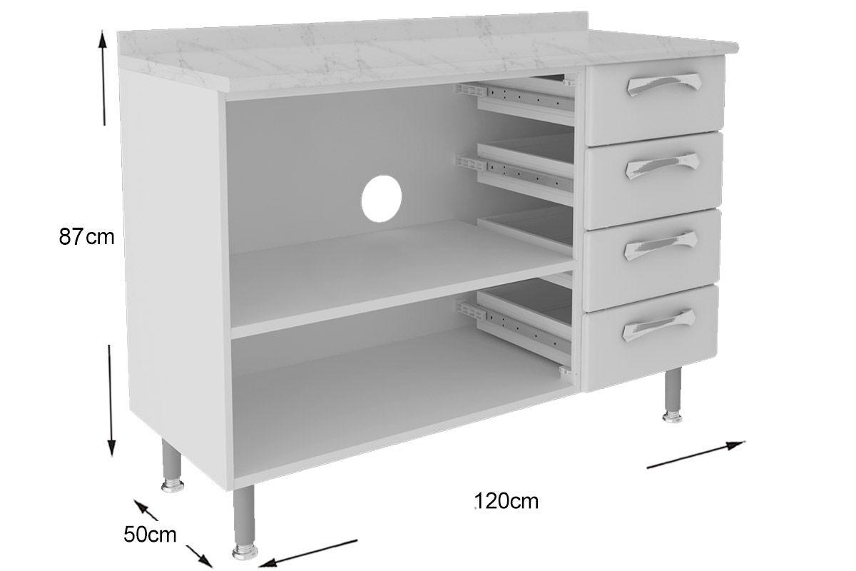 Gabinete de Cozinha Itatiaia Permium IG3G4GD-120 c/ Tampo